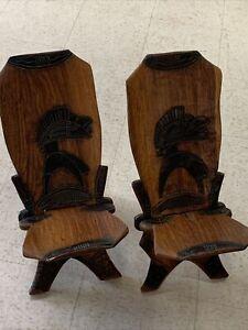Teak chair Viking Stargazer Vintage Antique Hand Wood Carved Chair MCM