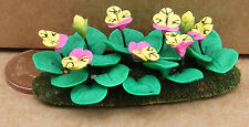 1:12 Scale Pink & Yellow Pansies In A Flower Bed Tumdee Dolls House Garden B