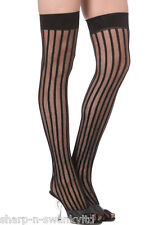 Ladies Black Red Nude Vertical Striped Burlesque Fancy Dress Stockings Hold Ups