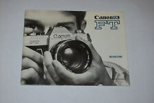 VINTAGE INSTRUCTIONS MANUAL FOR CANON FT CAMERA-FREE SHIPPING