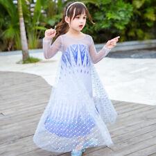 2019 New Girls Frozen 2 White Elsa Costume Party Birthday Dress + Cape 2-10 Yrs