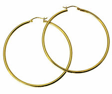14K Real Yellow Gold 2mm Thick Classic Polished Large Hinged Hoop Earrings 50mm