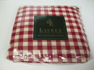 Ralph Lauren COLD SPRING Red Cream Gingham Checked Plaid Fitted Sheet - Cal King