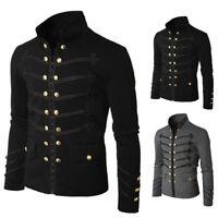 Men Gothic Military Jacket Band Steampunk Vintage Jacket Rock Cardigan coat