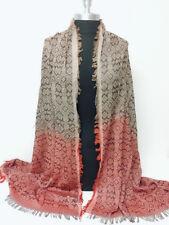 Women Men's Yarn-dye deep-dye Long Scarf Wrap Shawl Tassel Soft Rust