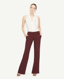 Ann Taylor The Madison Flare Trousers Size 18 Kate Fit Maroon Burgundy