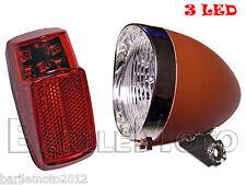 KIT Fanale Luce Anteriore Marrone + Posteriore 3 LED Bici Olanda - R - Graziella