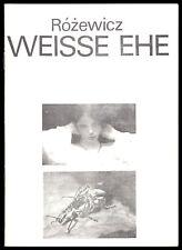 Theaterprogramm, Kammerspiele des DT Berlin, T. Rózewicz, Weisse Ehe, 1981