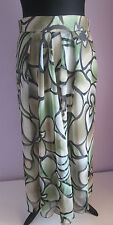 VTG 90s Ladies Linek Modelle Green Floral Polyester Lined Circle Skirt Size 14