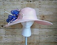 August Hat Company Womens Hat Blush Pink Blue Ribbon Pink White Feather Spray