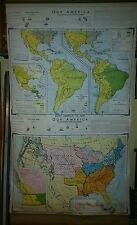 VINTAGE Pull Down School Map Our America - United States in 1821 Latin America