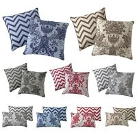 Luxury Damask Cushion Cover Reversible Chevron Printed 45cm x 45cm & 30cm x 50cm