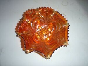 Antique Marigold Carnival Glass Vintage Candy Dish Bowl