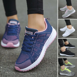 Womens Breathable Casual Flat Trainer Sneakers Lace Up Jogging Slip On Gym Shoes