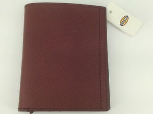 Men's FOSSIL Brand Brick Red LEATHER Passport Wallet - $75 MSRP