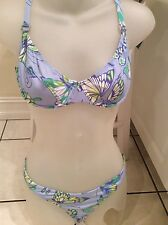 Manuel Canovas Swimsuit 2 Piece  Blue green butterfly Bikini PRISTINE