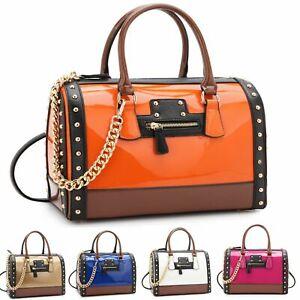 Dasein Fashion Women shoulder Handbag Patent Faux Leather Gold Tone Body Satchel