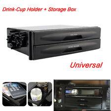 Universal Car Autos Double Din Radio Pocket Drink Cup Holder Storage Box Black