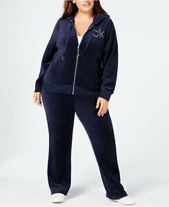 Calvin Klein Velour Glitter Logo Zip Hoodie & Pants Women's Plus 3X  (2 PC SET)