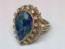 MOSAIC OPAL AND DIAMONDS IN 14K YELLOW GOLD RING SIZE 5