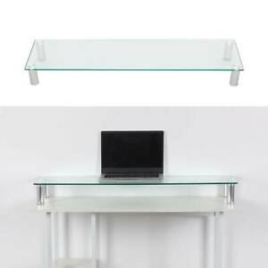 Large Twin Monitor Riser Stand TV PC Dual Double Screen Computer Clear Desk