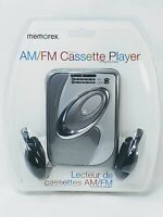 Memorex MD2280 Cassette Tape Player for AM/FM Radio with Headphones Silver New