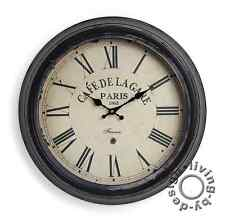 Wall Clock XXL 47CM Metal - France Paris Café Nostalgia Large Clock BAHNHOF