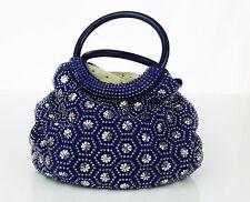Vintage Purse Blue Handbag Hoop Handles Geometric Beaded Bling Mod Handmade