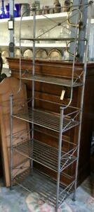 Wrought Iron 5 Tier Kitchen Bakers Rack Shelf Stand Storage Organizer Gray