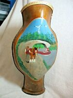 RARE LARGE VINTAGE HAND PAINTED LEATHER VASE (BARGE & COTTAGE  PICTURES )