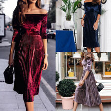 New Womens Girls Sexy Off Shoulder Velvet Dress Long Sleeve Party Cocktail Dress