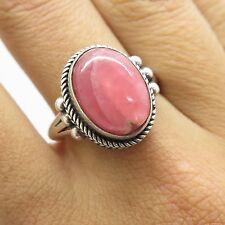 Vtg 925 Sterling Silver Large Natural Pink Quartz Gemstone Ring Size 7