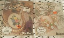 Vintage (1995) Bucilla RIBBON Embroidery SETS X 2 Craft Pendant *sealed* Heart