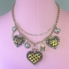 "NWT BETSEY JOHNSON CHEETAH HEART CHARM 18"" NECKLACE RETAIL $98"