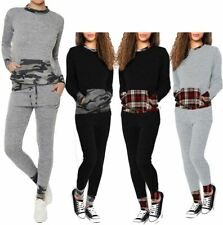 Womens Camouflage Tartan Contrast Loungewear Suit Ladies Jogger Co Ord Tracksuit