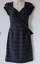 Allen B by Allen Schwartz Womens Faux Wrap Brown Black Blue Plaid Dress Sz 2