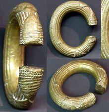 L1 Art d'afrique 1940 superbe bracelet bronze doré 635g11cm bijou ancien rare