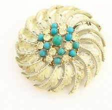 BROOCH flower with turquoise beads