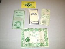 Vintage Cabbage Patch Kids CPK Doll Birth Certificate + Extras