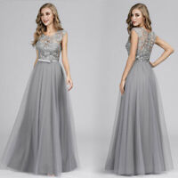 Ever-Pretty Grey Lace Round-neck Long Evening Dresses Cocktail Prom Dress 07609
