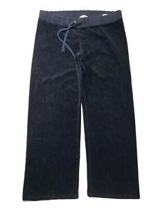 JUICY COUTURE Vintage Velour Logo Track Pants Black Women's Size XL X-Large