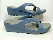 Crocs Dual Comfort Womens Sandals Size 10 Wedge Slip on Blue and Gray Rubber #JS