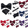 Mens Self Bow Tie Silk Red Blue Black Gold Paisley Solid Dot Bowtie Set Wedding