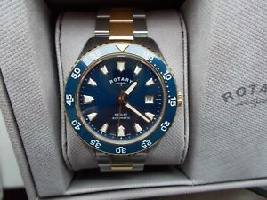 Rotary Henley Automatic mens bracelet watch 41mm two-tone and blue