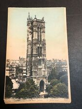 Paris St James Tower Antique Postcard Watercolored By Hand Paris