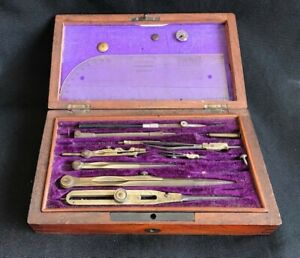 Technical Drawing Mixed Set In Lovely Wooden Box With TrayAntique/Vintage