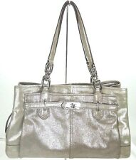 NWT Coach Chelsea Metallic Leather Jayden Carryall Silver Shimmer F19398