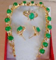 """Set 3 PCS Women Jewelry 18K Gold Plated Green Jade 7.5"""" Bracelet Earring Ring"""