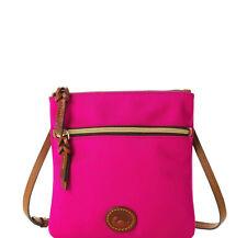 Auth Dooney & Bourke Nylon Double Zip Crossbody Shoulder Bag Fuchsia Pink