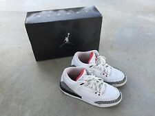 Nike Air Jordan 3 Retro (GS) 5.5 Youth (White / Fire Red - Cement Grey - Black)